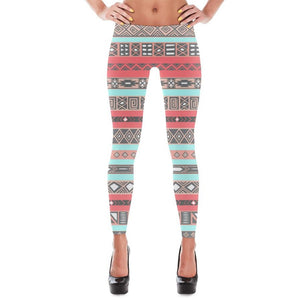 Aqua Coral Peach Aztec Pattern Print Leggings