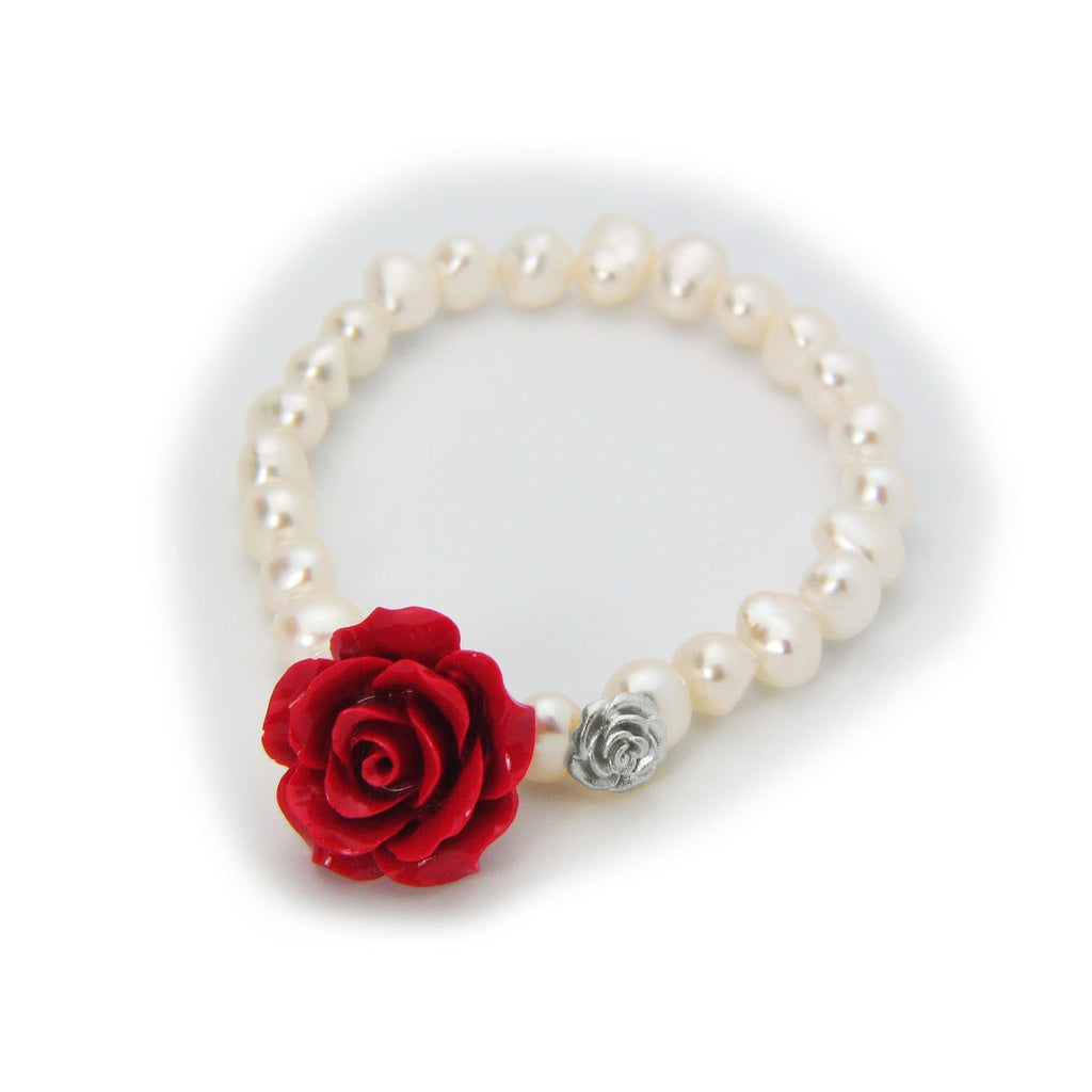 Luscious Red Ceramic Rose Fresh Water Pearl Stretch Bracelet in Sterling Silver