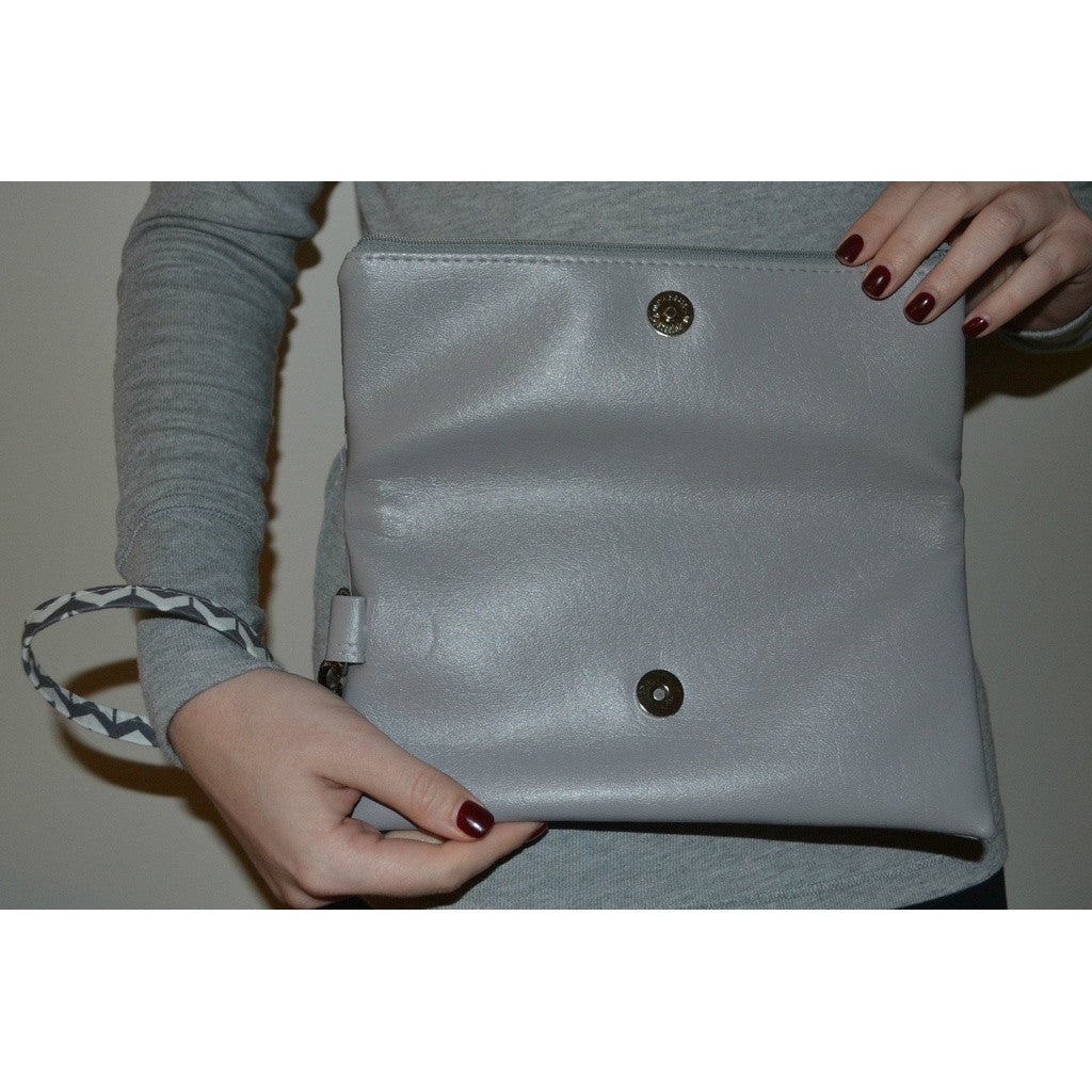 Adrienne Fold Over Clutch - Grey Chevron with Grey Vegan Leather