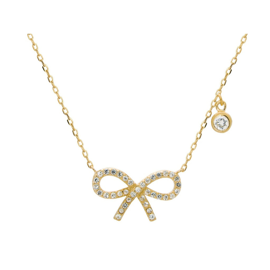 18k Gold Plated Sterling Silver Studded Bow Pendant Necklace, 16""