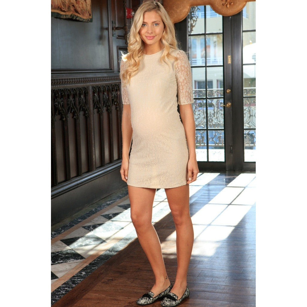 Beige Stretchy Lace Half Sleeve Shift Cocktail Dress - Women Maternity
