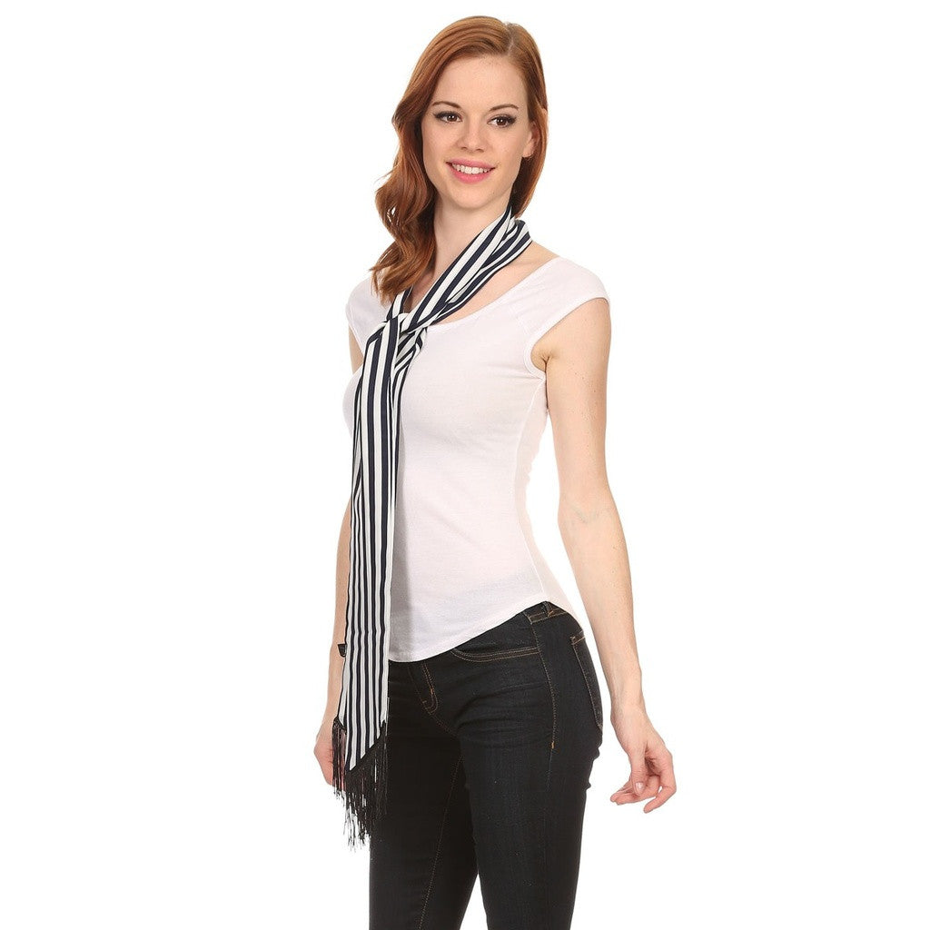 Ladies Navy and White Striped Skinny Scarf with Fringe