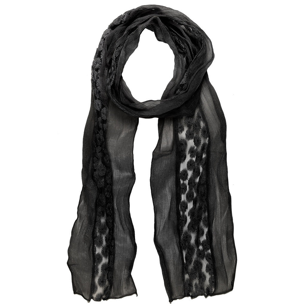 Daisy Embroidered Lace Scarf