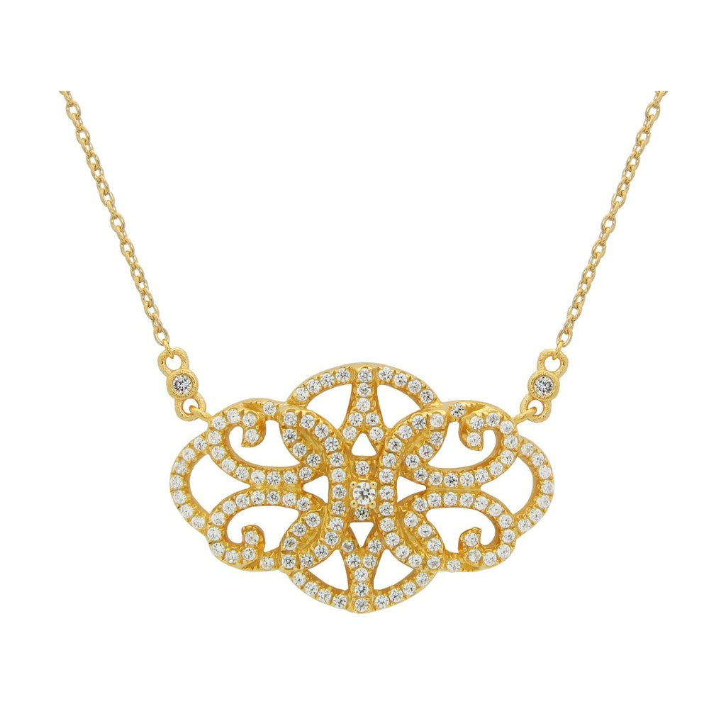 "Fronay Collection Silver Gold Plated  Antique Look Gold Plated Necklace 16""+ 2""  Pave Cz"