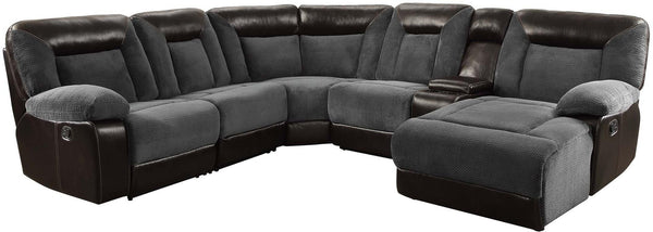 Grey and Dark Brown 6-Piece Sectional Sofa