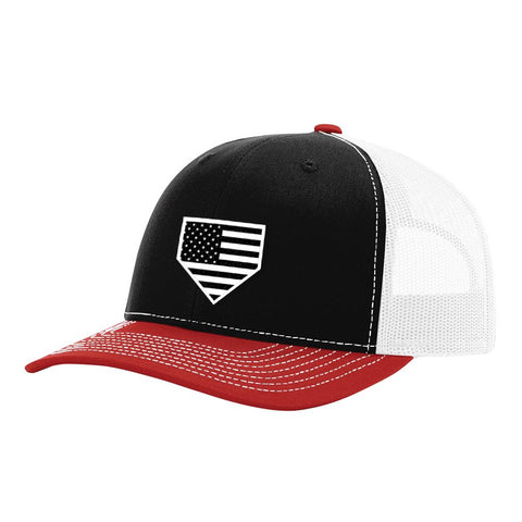 USA Home Plate Black, Red & White Hat