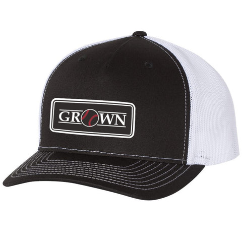 Grown Baseball Patch Black/White Hat