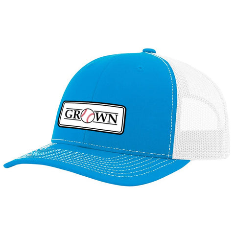 Grown Baseball Patch Cyan/White Hat