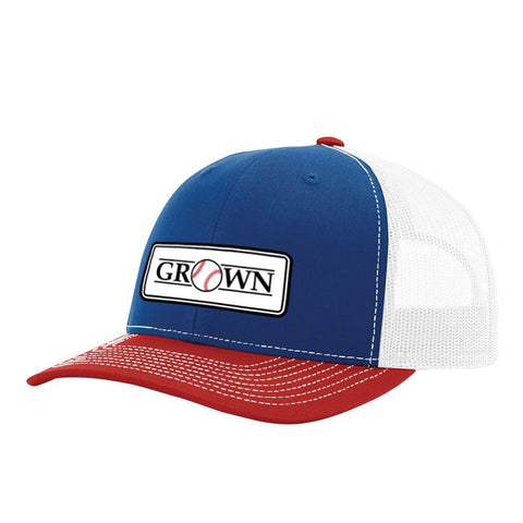 Grown Baseball Patch Royal/White/Red Hat