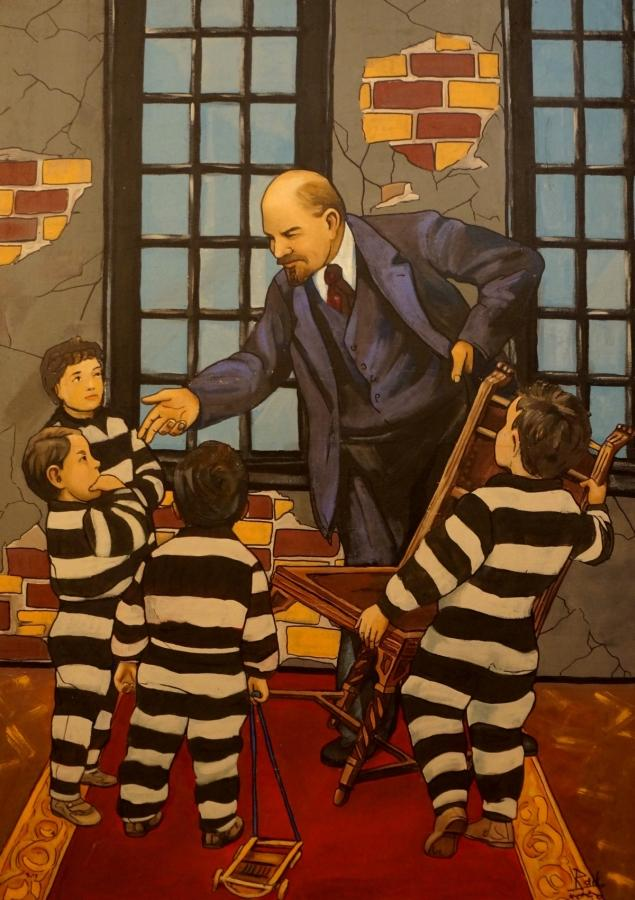 Lenin and Kids by Yuriy Zakordonets, Painting at Art Acacia Gallery & Advisory