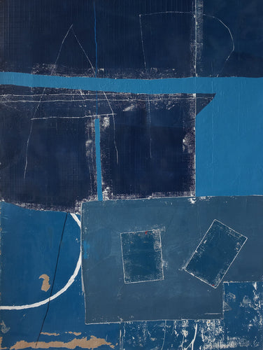 Blue abstract mixed-media by Antoine Puisais at Art Acacia Gallery
