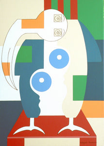 Bird Sitting on a Red Chair by Hildegarde Handsaeme, Painting at Art Acacia Gallery & Advisory