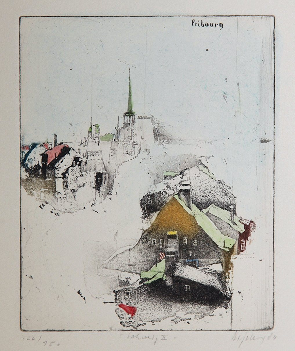 Fribourg, 1984 by Alexander Befelein, Etching at Art Acacia Gallery & Advisory