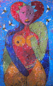 Love Triangle by Mwamba Mulangala, Mixed-media at Art Acacia Gallery & Advisory