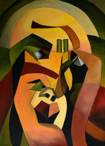 The Thinker by Rolando Duartes - Abstract Portrait, Figurative, Cubism, Geometric
