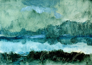 'Unknown Landscape' by Rolando Duartes - blue landscape, nature scene abstract