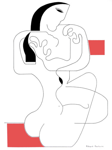 Le Calin with Red Accent by Hildegarde Handsaeme, Ink drawing at Art Acacia Gallery & Advisory