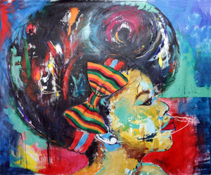 Afro-sisters IV by Mwamba Chikwemba, Painting at Art Acacia Gallery & Advisory