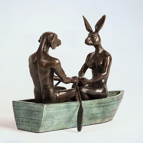 They rowed, Rowed, Rowed Their Boat by Gillie & Marc, Sculpture at Art Acacia Gallery & Advisory
