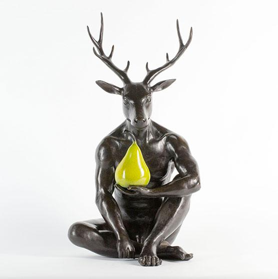 A Deer and a Pear by Gillie & Marc, Sculpture at Art Acacia Gallery & Advisory