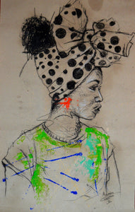 Women's Identity II by Mwamba Chikwemba - female portrait, drawing