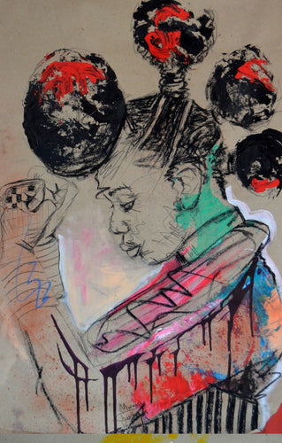 Women's Identity VI by Mwamba Chikwemba - black woman portrait, drawing on paper