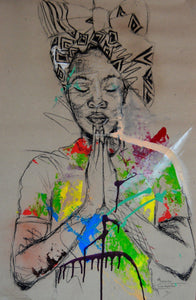 Women's Identity X by Mwamba Chikwemba - portrait of a woman praying