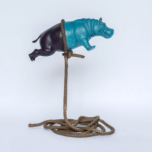 Flying Hippo (Purple and Teal) by Gillie & Marc, Flying Hippo (Purple and Teal) - Art Acacia Gallery & Advisory