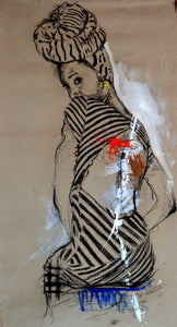 Women's Identity VIII by Mwamba Chikwemba - portrait of a black woman looking over her back
