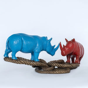 Rhino Lovers on Rope by Gillie & Marc, Sculpture at Art Acacia Gallery & Advisory