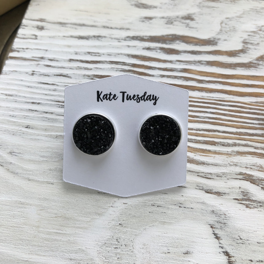 Black Simple Druzy Earrings
