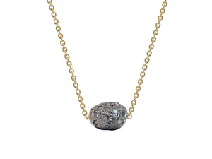 Diamond Encrusted Meteorite in Gold Plated