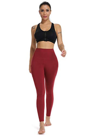 Olacia Yoga Pants with Pocket High Waisted Tummy Control Workout Leggings, Wine Red, Large