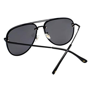 VIVIENFANG Oversized Rimless Aviator Sunglasses Metal Frame with Spring Hinges, Designer Inspired Shade for Women/Men 87247A Black