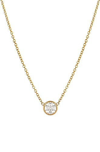 14k yellow gold diamond solitaire necklace,Small diamond bezel necklace 0.10ct, Zoe Lev Jewelry