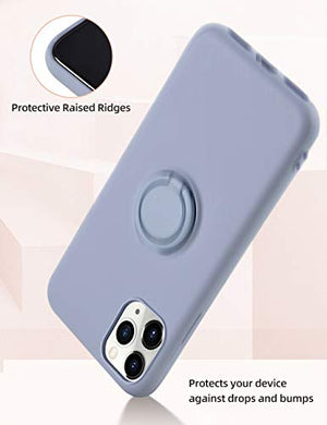 iPhone 11 Pro Max Case Silicone,Yoopake iPhone 11 Pro Max Liquid Silicone Case with Stand Ring Holder Support Magnetic Car Mount Soft Slim Protective Phone Cover Case for Apple iPhone 11 Pro Max,Gray