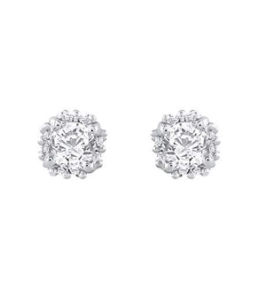 Royal 1/2 Carat Diamond Stud Earrings in 14K White Gold