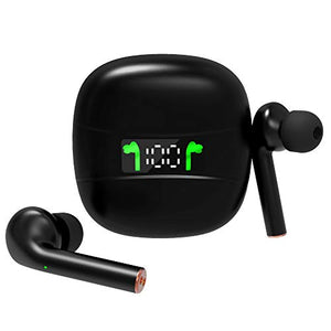 True Wireless Earbuds Bluetooth 5.2 with Led Display Charging Case Waterproof Earbuds 35 Hours Playtime Built-in Mic Earbuds HiFi Premium Sound with Deep Bass for Sport,Black