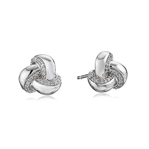 Jewelili Sterling Silver Diamond Knot Earrings 1/10cttw