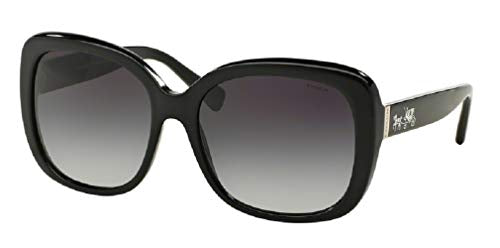 Coach HC8158 500211 58M Black/Light Grey Gradient Square Sunglasses For Women+FREE Complimentary Eyewear Care Kit