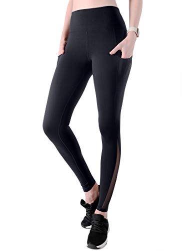 High Waisted Yoga Pants with Pockets - Butt Lifting Yoga Leggings, Tummy Control, Squat-Proof Workout Pants for Women Black