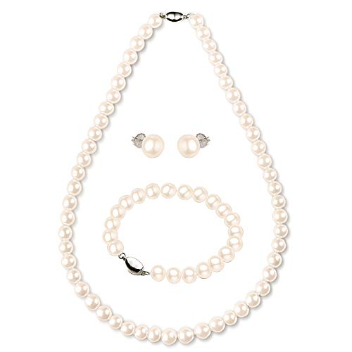 "Freshwater Cultured Pearl Necklace Set Bracelet and Stud Earrings Jewelry Set in 18"" Princess Length for Women Gift"