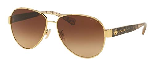 Coach HC7063 926013 58M Gold/Wild Beast/Brown Gradient Aviator Sunglasses For Women+FREE Complimentary Eyewear Care Kit