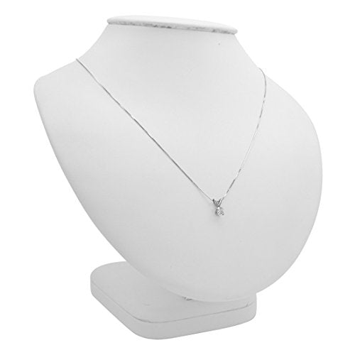 Amanda Rose Collection 1/3ct Diamond Solitaire Pendant Necklace in 14K White Gold on an 18 in. 14K White Gold Box Chain