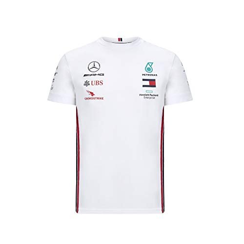 Fuel For Fans Mercedes Benz AMG Petronas F1 2020 Men's Team T-Shirt Black/White (S, White)