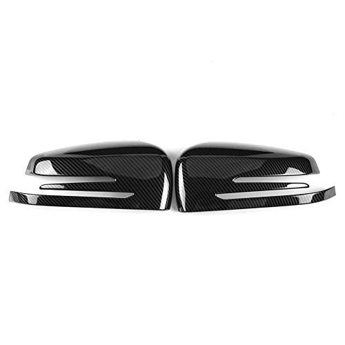 ABS Rear View Mirror Cap Cover, Plastic Car Carbon Fiber Side Rearview Mirror Cap Cover Trim for Mercedes Benz A B C E GLA Class W204 W212