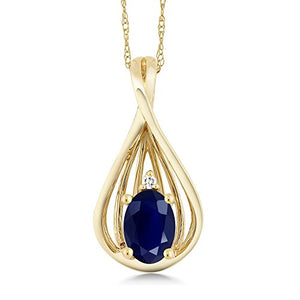 Gem Stone King 10K Yellow Gold Blue Sapphire and Diamond Teardrop Pendant Necklace For Women 0.55 cttw Oval with 18 Inch Chain