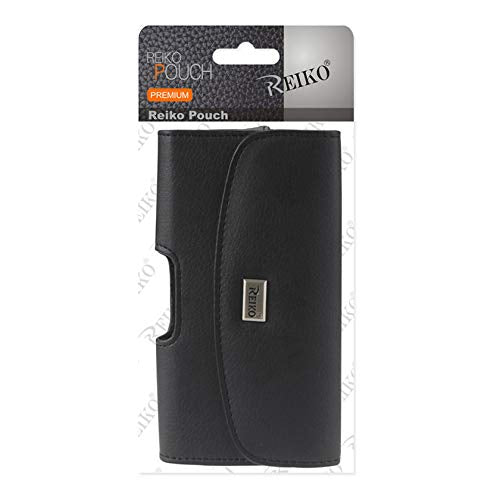 Reiko Large Size for Samsung Galaxy S6 / S8 / S9 (Fits With Silicone Case / Hybrid Case) Black Leather Wallet Pouch and Zoomazig Stylus