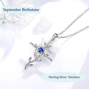 September Birthstone Blue Sapphire Necklace for Wife Birthday Gifts Love Rose Jewelry Women Sterling Silver Hope Leaves Pendant Necklace for Her