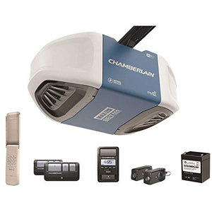 Chamberlain Group Chamberlain B970 Smartphone-Controlled Ultra-Quiet and Strong Belt Drive Garage Door Opener with Battery Backup and MAX Lifting Power, Blue